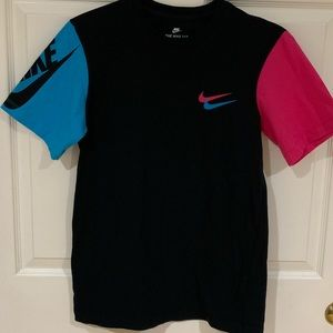 Nike Tee Black Blue and Pink Double Swoosh Size S